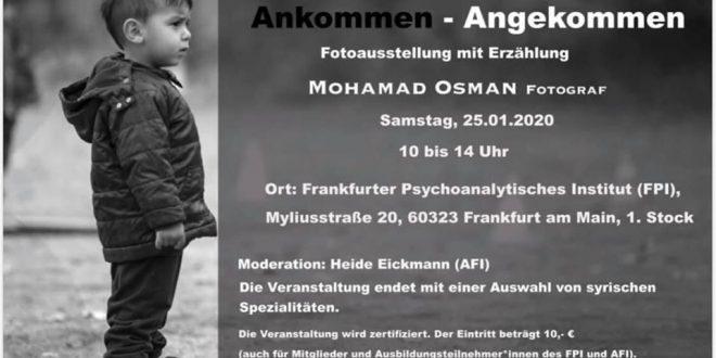 يدعوكم الفنان الضوئي #محمد _عثمان Mohamad Osman.. لحضور معرضه الجديد في مدينة فرانكفورت في معهد الدعم النفسي بتاريخ 25.01.2020 من الساعة 10 وحتى 14 . Frankfurter Psychoanalytischer Institut , Myliusstraße 20, 60323 Frankfurt am Main..
