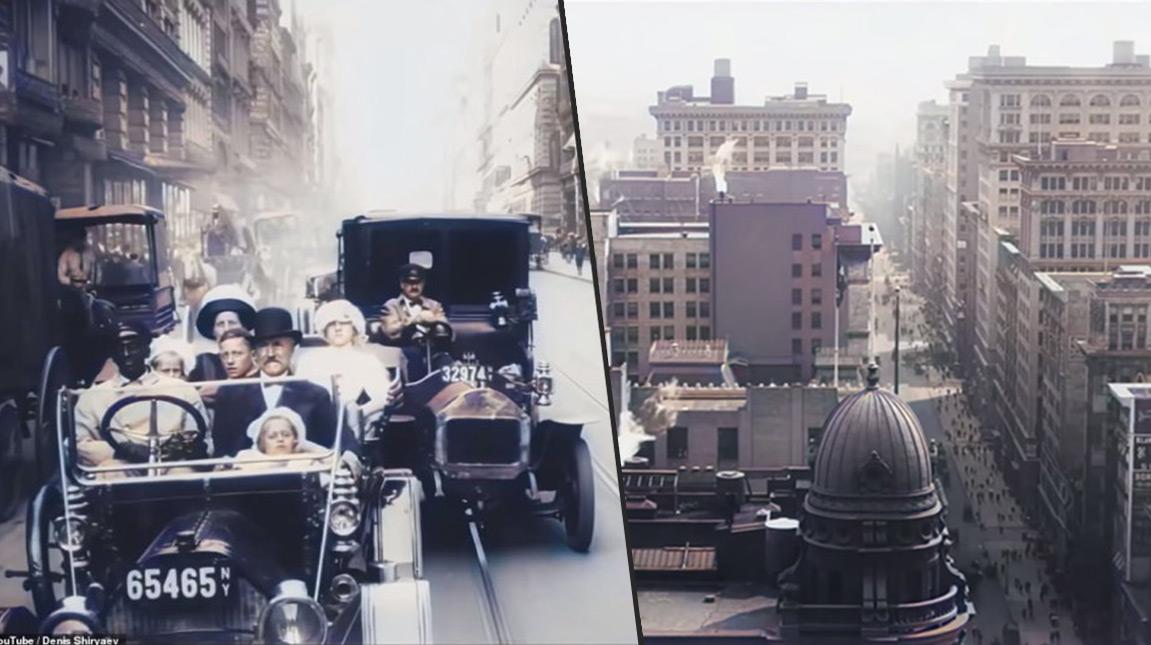 قرر مدون الفيديو Denis Shiryaev اعادة هذه التجربة ولكن بمستوى اكثر صعوبة وهو تلوين مشاهد لمدينة نيويورك بإستخدام الذكاء الاصطناعي.. تم تصويرها قبل 109 سنوات.